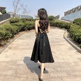 港味復古chic夏季中長款禮服裙小黑裙V領高腰綁帶露背吊帶洋裝   芊惠衣屋