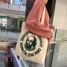 帆布袋韓國簡約字母港風ins帆布袋女包chic購物袋斜背學生帆布包大包包 全館免運