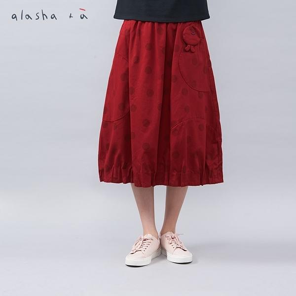 a la sha+a 點點印花創意裙襬中長裙
