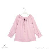 【INI】法式風情、優雅細條質感綁帶上衣.粉色