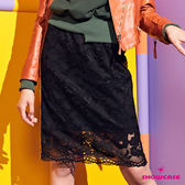 【SHOWCASE】運動女孩側織帶配色蕾絲網彈性及膝窄裙(黑)