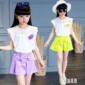 女童短袖套裝 女童套裝2019新款時髦洋氣夏季中小童時尚兒童休閒套裝 DJ10754【原創風館】