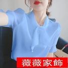 短袖雪紡上衣 雪紡衫女2021夏季新款韓版寬鬆蝴蝶結短袖上衣超仙法式洋氣小衫潮 薇薇