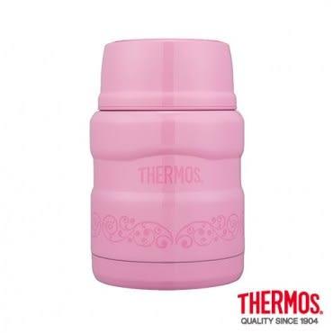 THERMOS 膳魔師 不鏽鋼真空燜燒食物罐/保溫罐/悶燒罐 470ml 粉桃歐蕾
