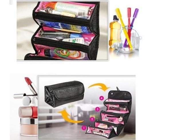 【SG251】收納包 超大容量四層可捲可掛式旅行收納化妝包 化妝包 Roll-N-Go Cosmetic Bag 大容量