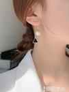 耳環 純銀珍珠耳飾女韓國氣質網紅長款圓臉耳墜高級感耳環2021年新款潮 智慧e家 新品