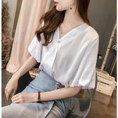 泡泡袖襯衫夏季韓版氣質女寬鬆V領上衣簡約純色打底襯衣ZM-2F-B117-B紅粉佳人
