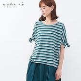 a la sha+a 氣質條紋袖口蝴蝶結上衣