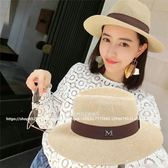 爵士帽  M標夏天女士禮帽英倫爵士帽防紫外線     遇見生活