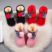 兒童靴子 女童雪地靴冬季兒童棉鞋保暖中筒靴軟底中大童男女孩加絨短靴子【快速出貨八折搶購】