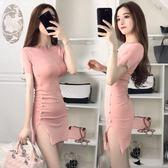 夏季新款韓版性感圓領短袖修身顯瘦開衩釘珠包臀短裙洋裝潮 卡布奇诺