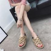 女鞋 簡約麻辮編織平底涼鞋 黑/杏 35-40