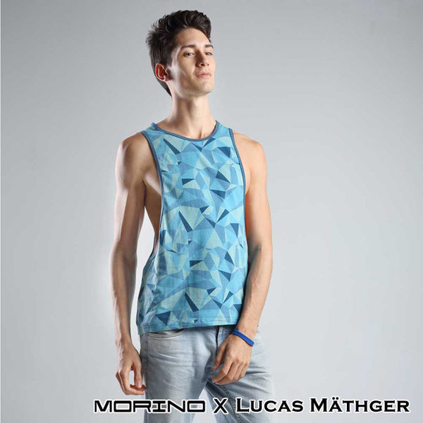【MORINOxLUCAS設計師聯名】幾何迷彩時尚背心 藍色