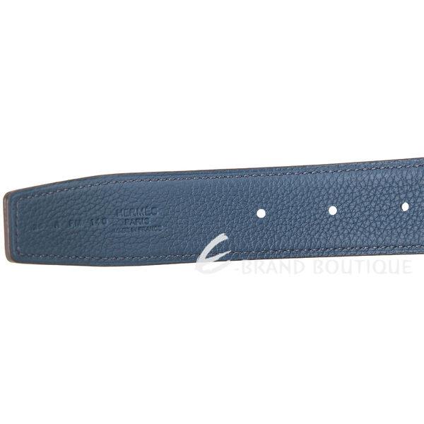 HERMES H 槌擊金屬釦小牛皮雙面腰帶(32mm/黑x藍) 1730134-34