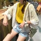 夏季女裝甜美百搭刺繡七分袖防曬衫空調衫柔美雪紡衫開衫外套上衣