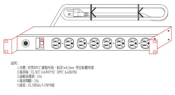 8孔15安培 帶開關 機架型排插 (SPU-1512-08S)