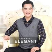 春秋季中年男士長袖t恤爸爸春裝中老年人40-50歲薄款秋衣男假兩件