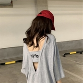 破洞歐貨大版小眾設計感洋氣深V寬鬆韓版露背性感短袖t恤女ins潮『櫻花小屋』