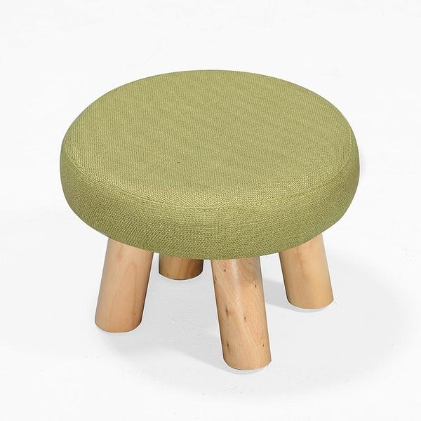 【森可家居】亞蓓綠色圓凳 8ZX562-5 麻布椅凳 實木腳