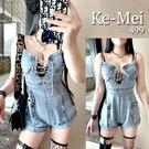 克妹Ke-Mei【AT65351】NUTS炸乳顯身材收腰闊腿釘釦馬甲綁帶牛仔吊帶褲