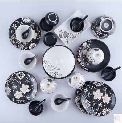 幸福居*【玉泉】 葉舞日式餐具套裝碗碟 手工印花 中式陶瓷盤(黑色印花葉舞26件)