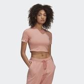 J-adidas R.Y.V. 短袖上衣 女 裸粉色 白線 三線 短版上衣 休閒 運動 舒適 GD3066