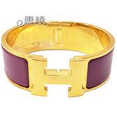 【Hermes 愛馬仕】Clic H LOGO琺瑯寬版PM手環(紫色X金色 F300001F8B)