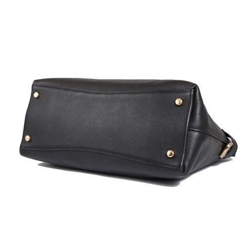 COACH 柔軟荔枝皮革前口袋手提斜背兩用包(黑色)