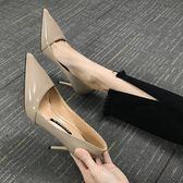 高跟鞋 小清新少女裸色高跟鞋細跟公主尖頭單鞋 巴黎春天