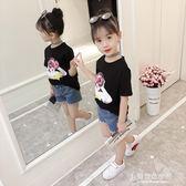 女童短袖T恤夏季韓版時尚女孩純棉半袖上衣 兒童親子夏裝 東京衣秀