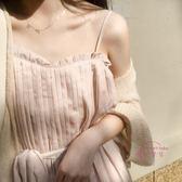 新品女夏季顯瘦仙女壓褶腰帶連身裙洋裝小清新時尚吊帶正韓中長裙