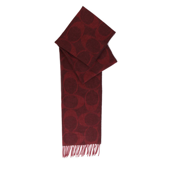 【COACH】CC LOGO羊毛圍巾(酒紅)F77673 OXB