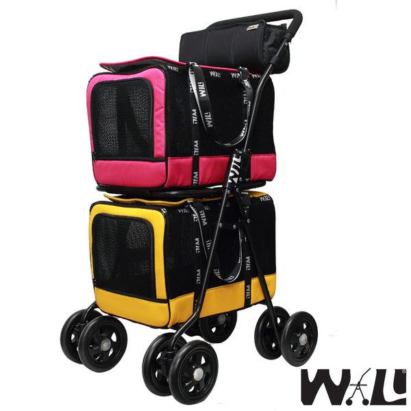 WILL設計 + 寵物用品 萬搭設計 雙層可拆式推車*WB02桃+WB02黃