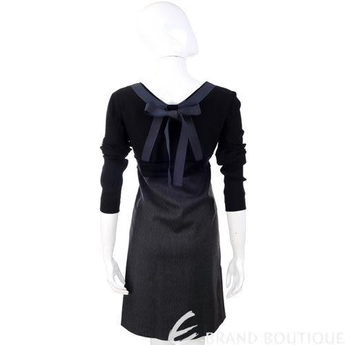 PHILOSOPHY 黑/灰色拼接蝴蝶結長袖洋裝 0940166-58
