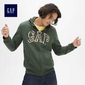 Gap男裝 Logo拉鏈長袖連帽休閒上衣 488109-橄欖綠