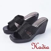 2018春夏新品 Kadia.閃耀水鑽氣質楔型高跟涼鞋(8127-91黑)