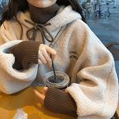 羊羔绒外套 羊羔絨衛衣女韓版潮學生寬松bf慵懶風上衣秋冬加絨加厚假兩件外套 快速發貨