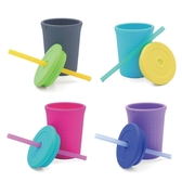 美國 silikids 果凍餐具 【TOGO矽膠吸管杯組12oz】4色可選