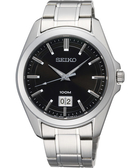 SEIKO 精工 大日期視窗百米手錶-黑x銀 6N76-00A0D