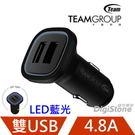【優惠加購品】TEAM 十銓 WD01 4.8A (2.4A+2.4A) USB雙孔車用充電器 USB車充-黑色X1P