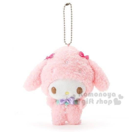 〔小禮堂〕美樂蒂 絨毛娃娃吊飾《粉.草莓裝扮》春漾粉莓系列 4901610-93073