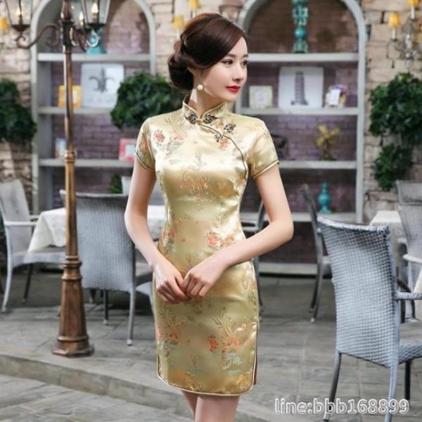 媽媽禮服 旗袍改良版連衣裙年輕款少女復古中國風氣質長款走秀顯瘦優雅 星河光年
