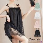 粉紅拉拉【PEGS048】二件式公主風蕾絲睡衣 透膚雙層結構 細肩帶連身裙+丁字褲 洋裝睡衣