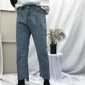 韓國ulzzang簡約圓環情侶九分褲闊腿毛邊寬鬆直筒褲牛仔褲男女潮   草莓妞妞