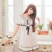 情趣內衣  經典黑白配法式香頌浪漫睡衣 情趣睡衣蕾絲款 《SV8855》HappyLife