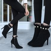 YAHOO618◮秋冬新款珍珠蕾絲女靴細跟短靴裸靴英倫馬丁靴拉鍊高跟鞋歐美 韓趣優品☌