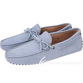 TOD'S Gommino Driving 牛皮綁帶豆豆休閒鞋(男鞋/水洗藍) 1730207-23