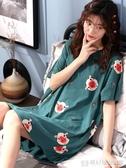 短袖睡裙女夏季純棉薄款可愛韓版學生孕婦寬鬆大碼胖Mm睡衣『歐尼曼家具館』