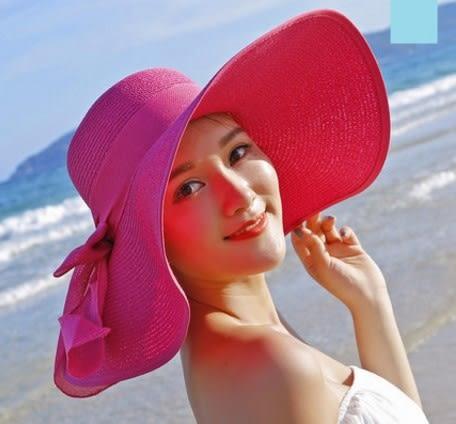 [協貿國際]  女士夏天防曬草帽可折疊沙灘帽 (1入)