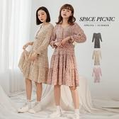 長袖 洋裝 Space Picnic 包釦碎花雪紡長袖蛋糕洋裝(現貨)【C20012055】